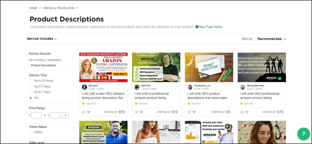 fiverr product descriptions