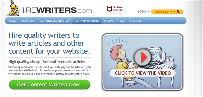 Hire Writers Homepage