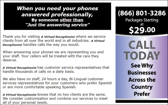A Virtual Receptionist Pricing